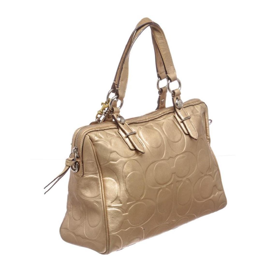 Coach Metallic Gold Monogram Leather Tote Bag - 3