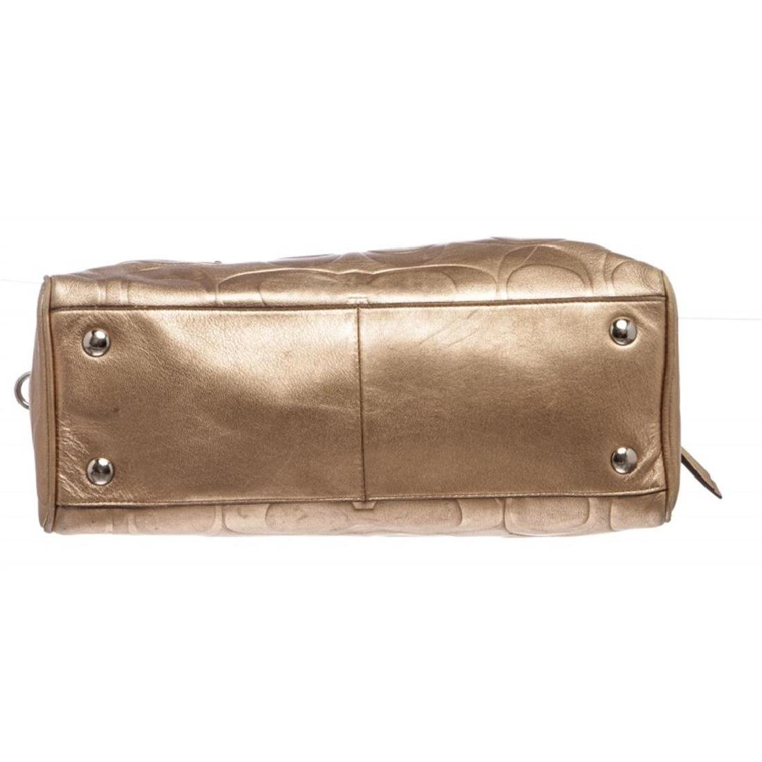 Coach Metallic Gold Monogram Leather Tote Bag - 4