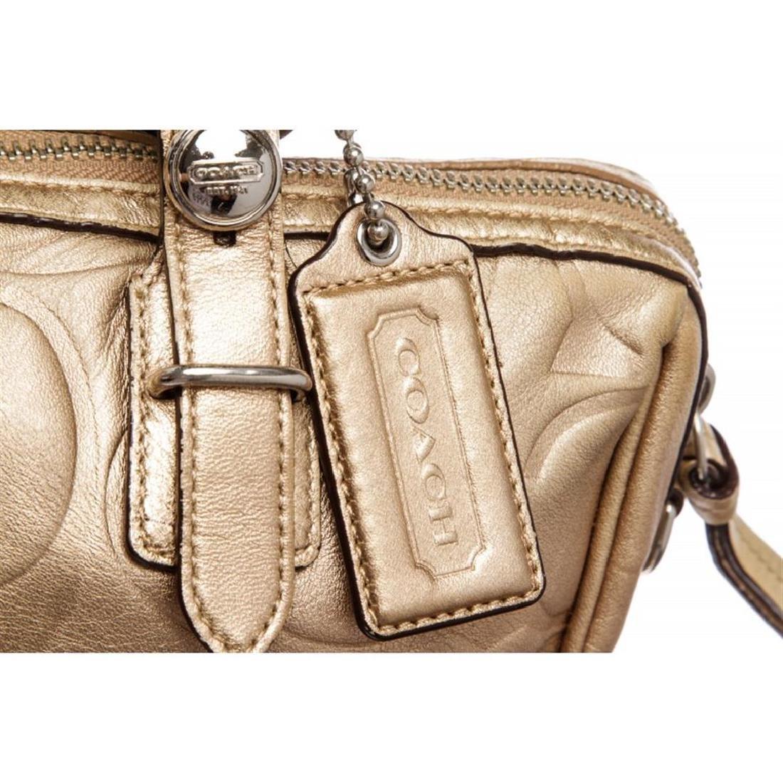 Coach Metallic Gold Monogram Leather Tote Bag - 5