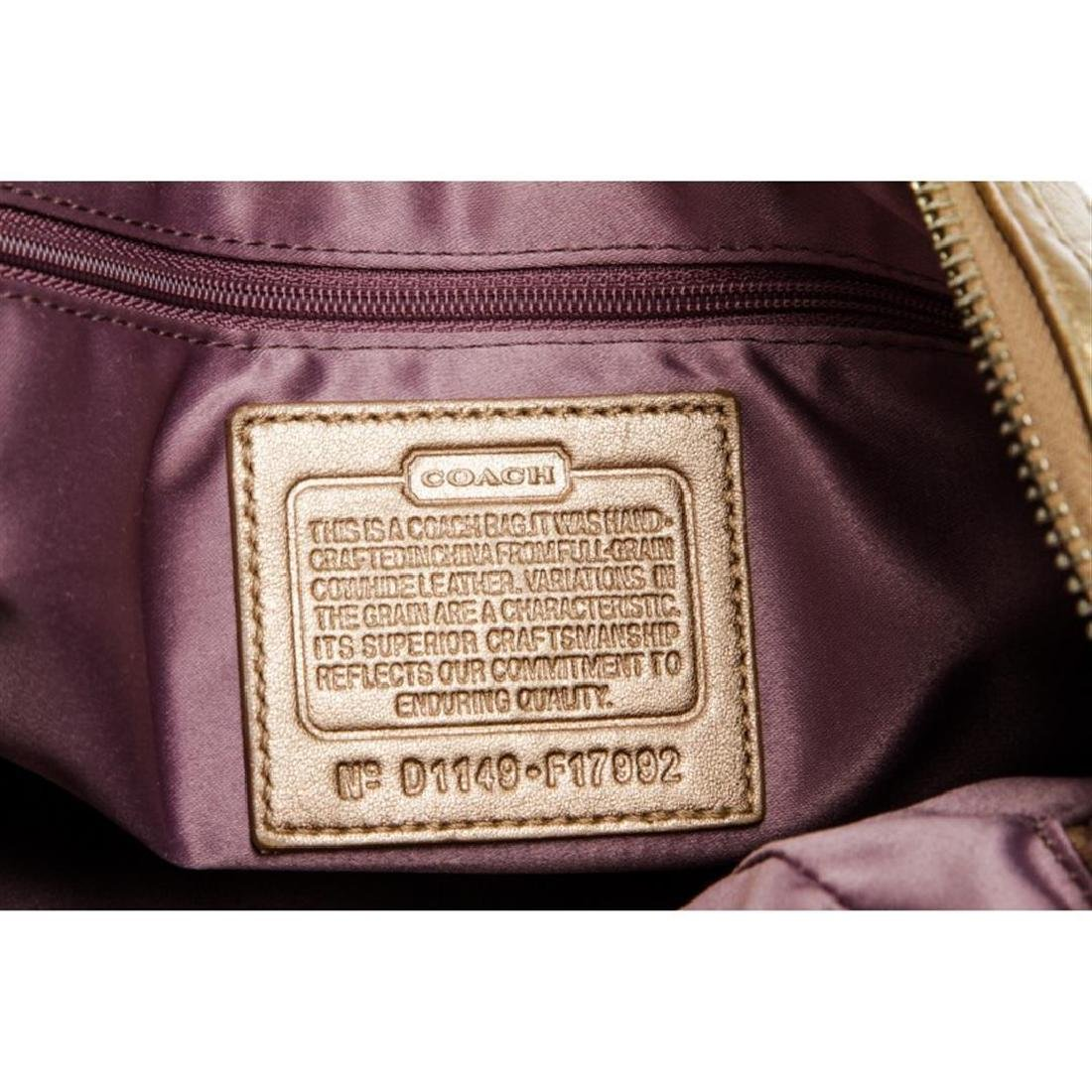 Coach Metallic Gold Monogram Leather Tote Bag - 8