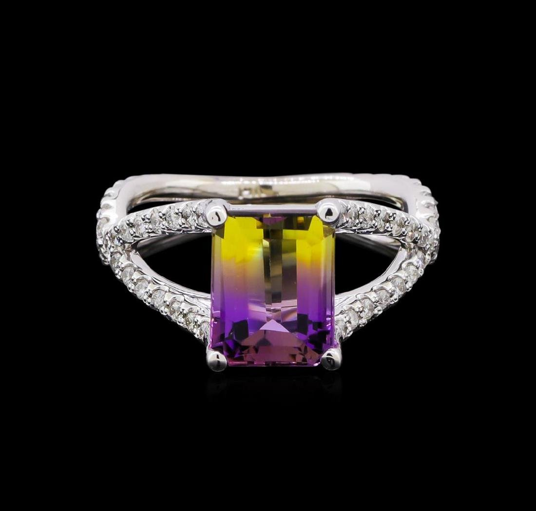 2.70 ctw Ametrine and Diamond Ring - 14KT White Gold - 2