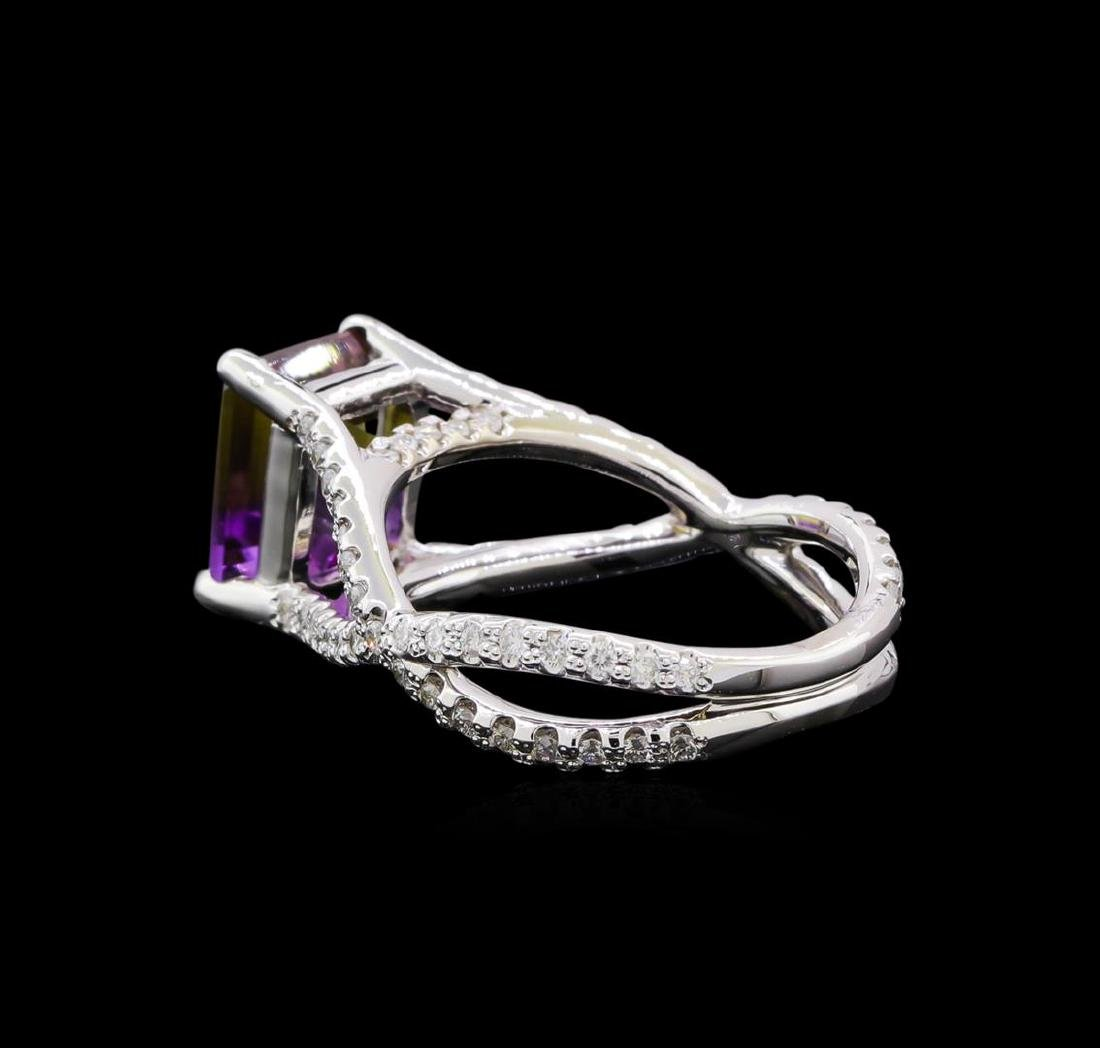2.70 ctw Ametrine and Diamond Ring - 14KT White Gold - 3