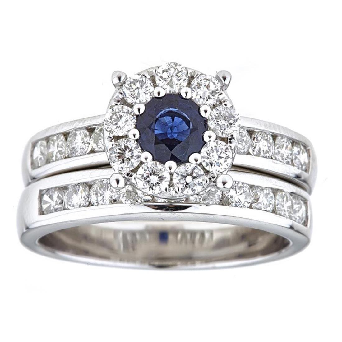0.59 ctw Sapphire and Diamond Ring - 18KT White Gold