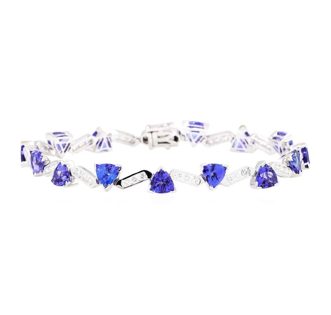 12.96 ctw Tanzanite And Diamond Bracelet - 14KT White