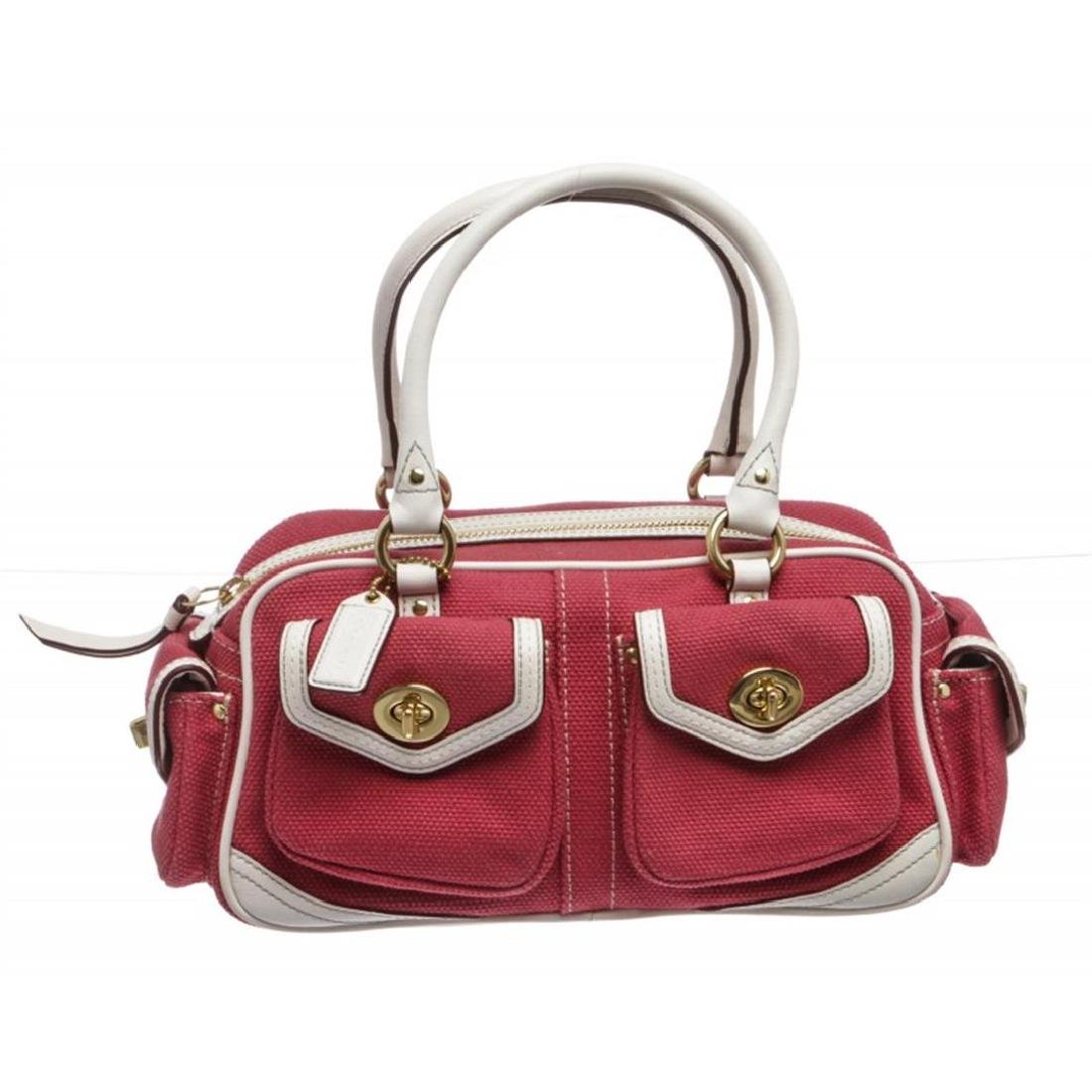 Coach Pink Canvas White Leather Trim Satchel handbag
