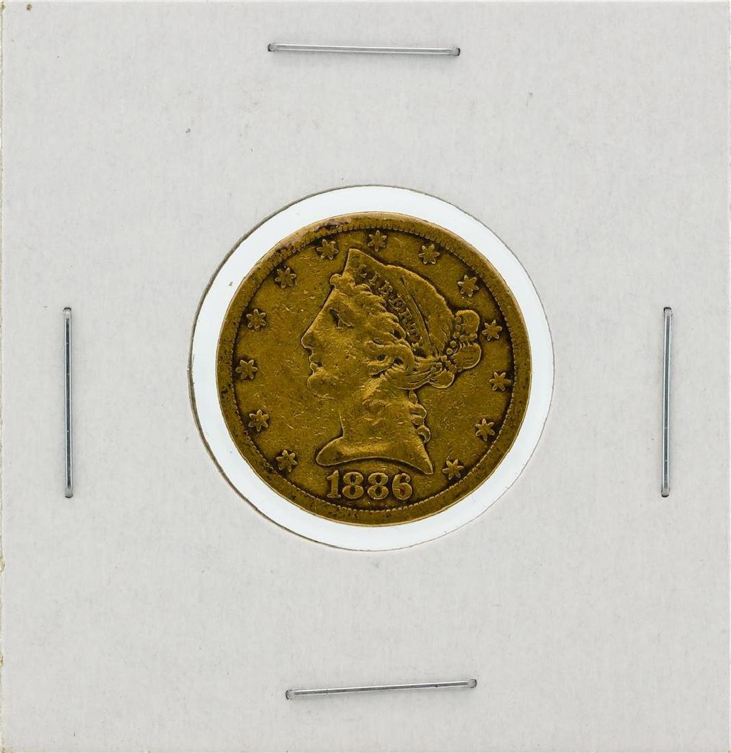 1886-S $5 VF Liberty Head Half Eagle Gold Coin