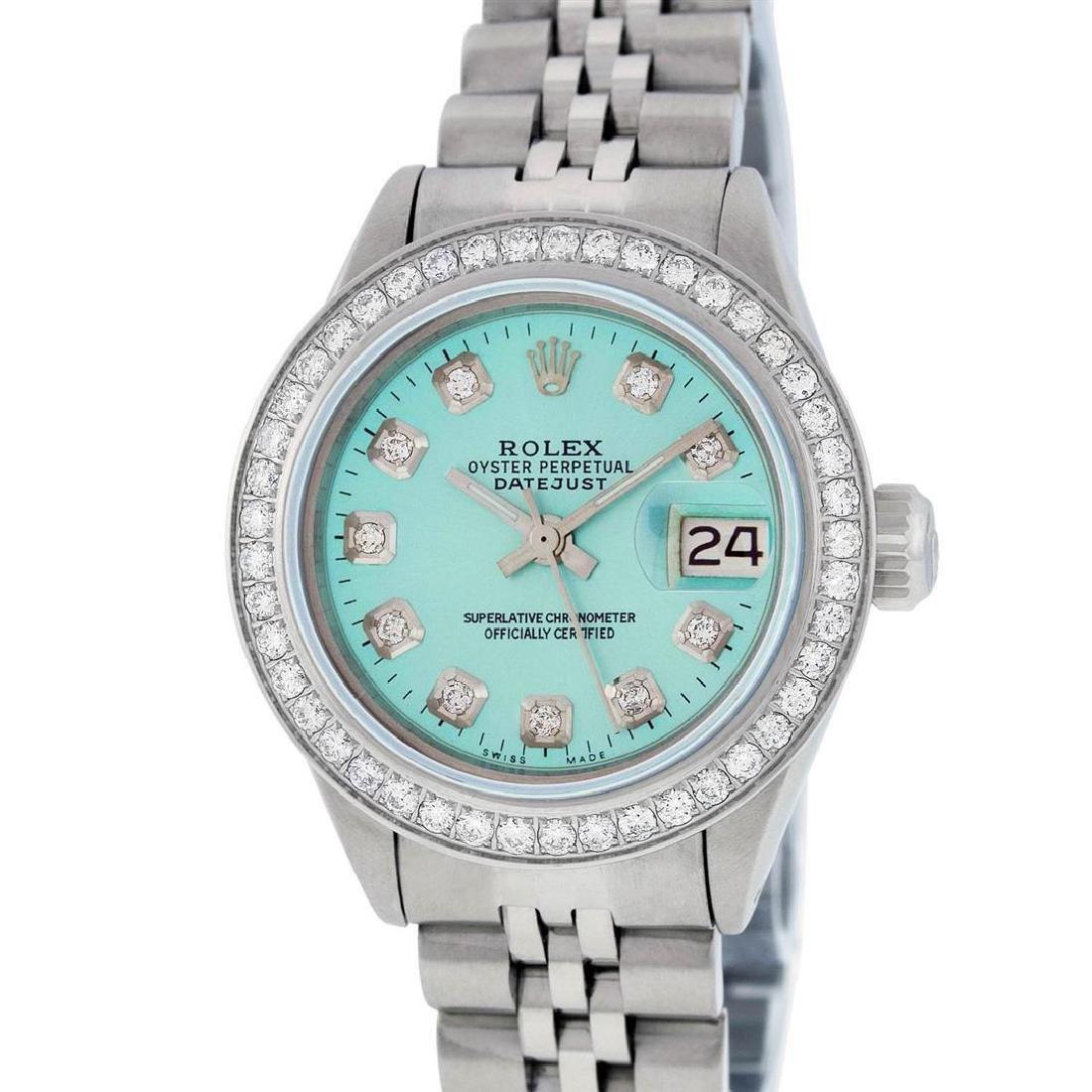 Rolex Ladies Stainless Steel Ice Blue Diamond Datejust