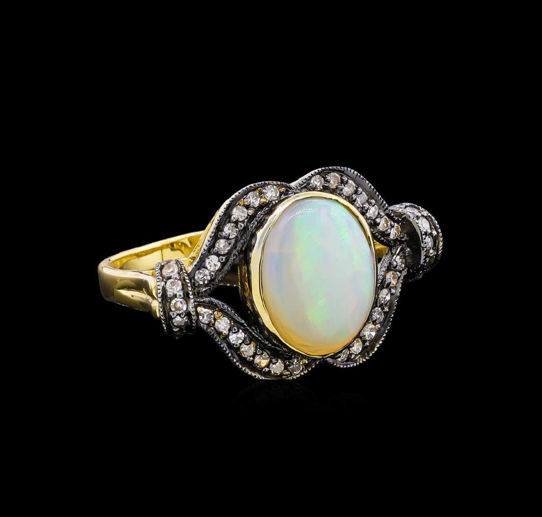 4.40 ctw Opal and Diamond Ring - 18KT Yellow Gold