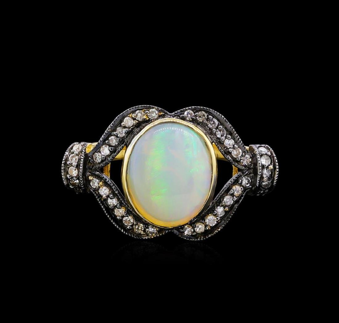 4.40 ctw Opal and Diamond Ring - 18KT Yellow Gold - 2