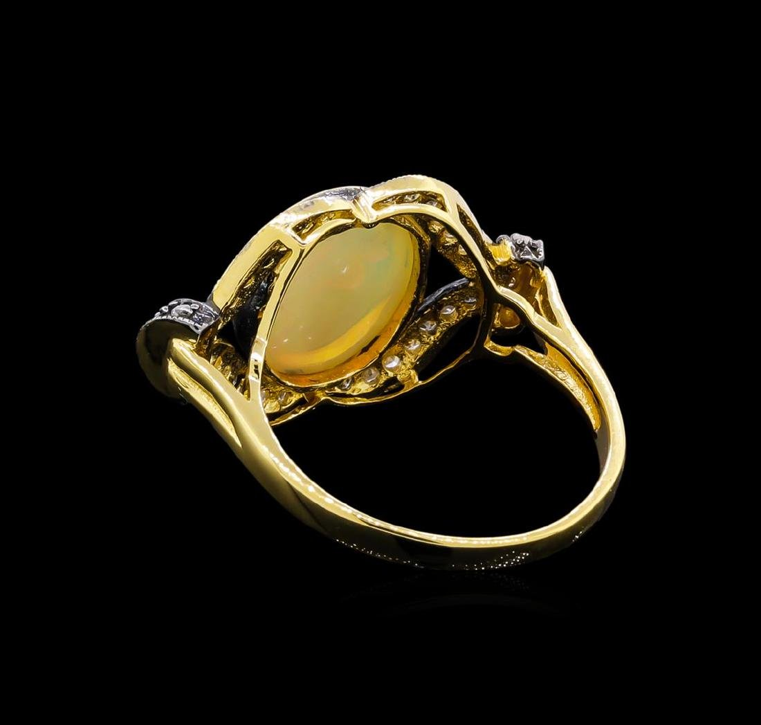 4.40 ctw Opal and Diamond Ring - 18KT Yellow Gold - 3