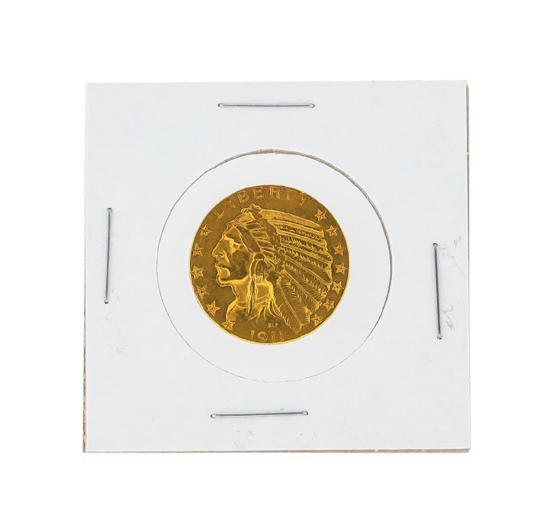 1911-S $5 AU Indian Head Half Eagle Gold Coin