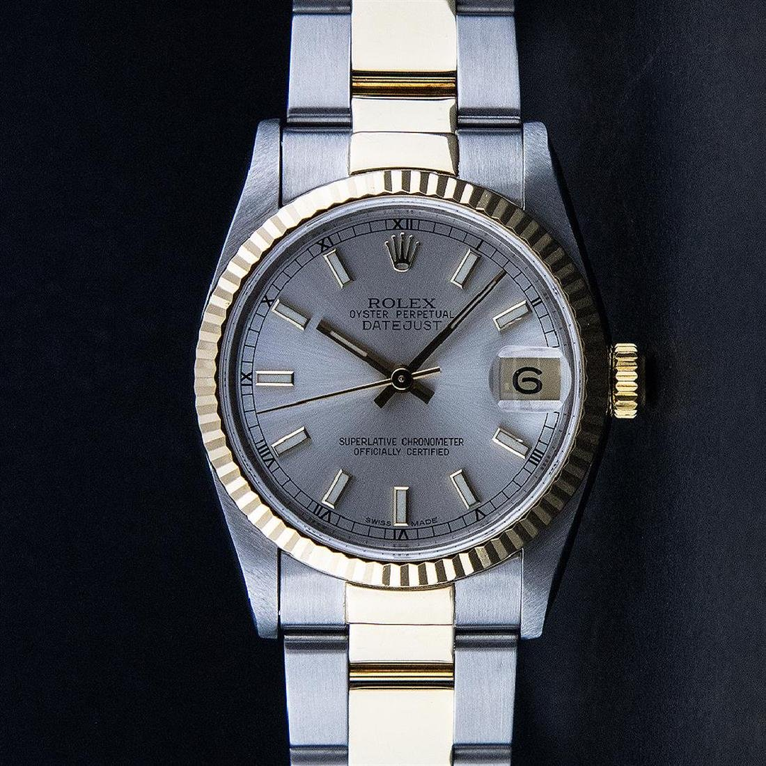 Rolex Two-Tone Silver Index Fluted Bezel Midsize