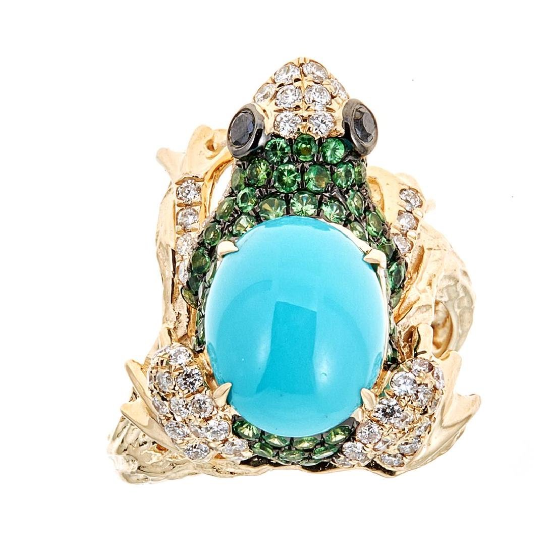 2.82 ctw Turquoise, Tsavorite and Diamond Ring - 14KT