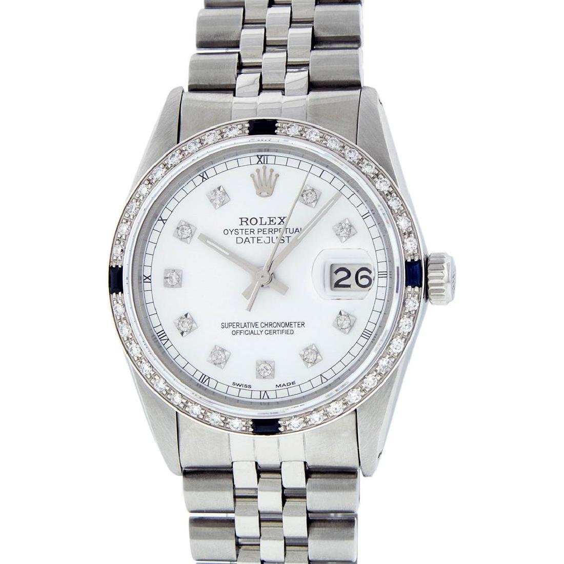 Rolex Mens Stainless Steel White Diamond And Sapphire