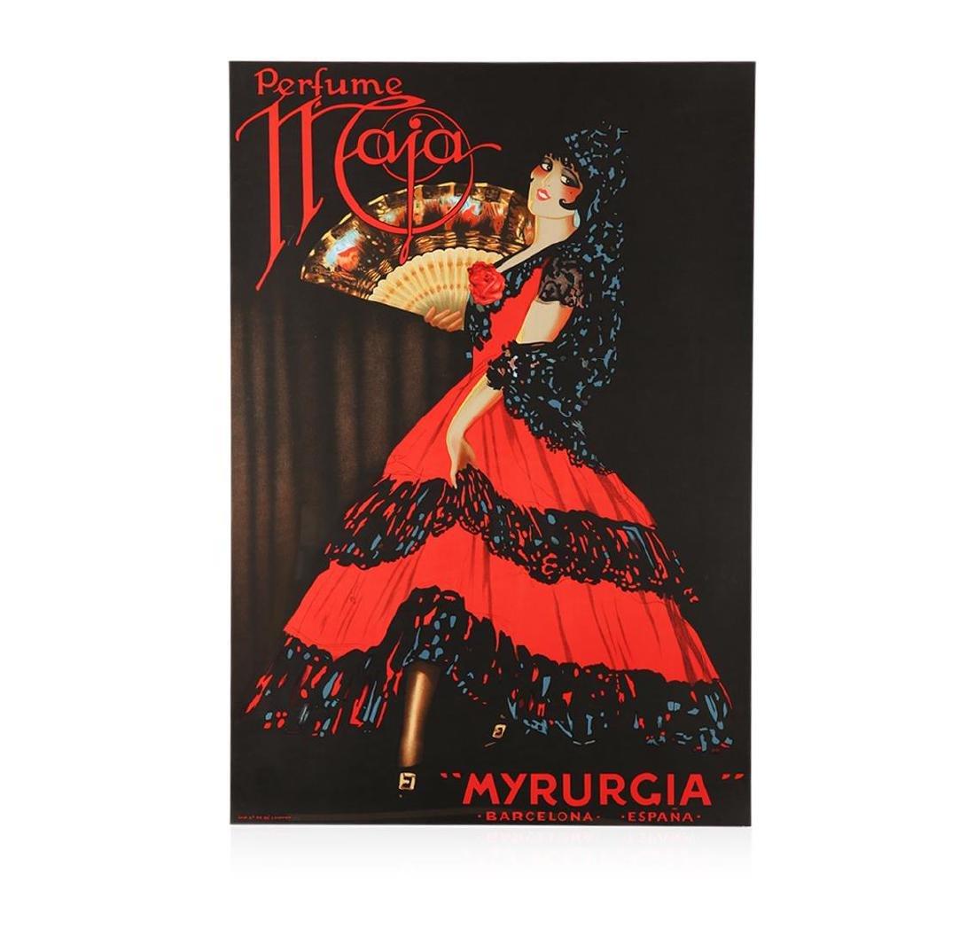 Perfume Maja Myrurgia Hand Pulled Lithograph Vintage