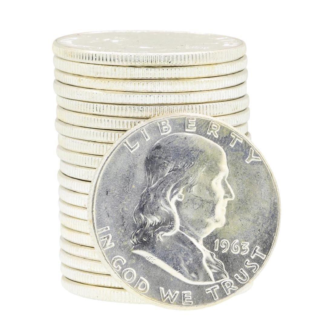 Tube of 20 1963 Franklin US Half Dollars