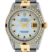 Rolex Mens Two Tone Diamond Lugs Mother Of Pearl Ruby