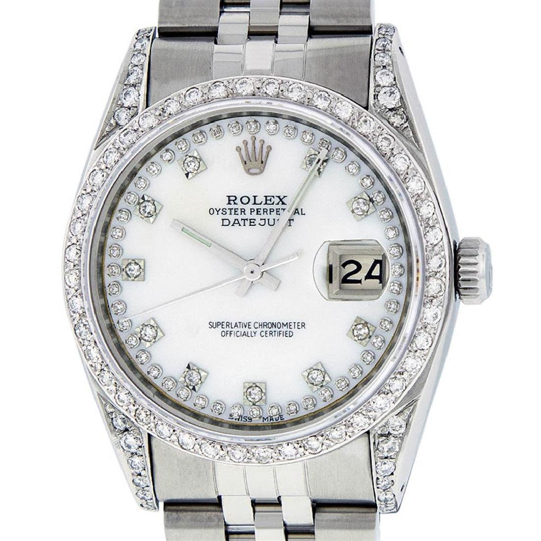 Rolex Mens Stainless Steel Mother Of Pearl VVS Diamond