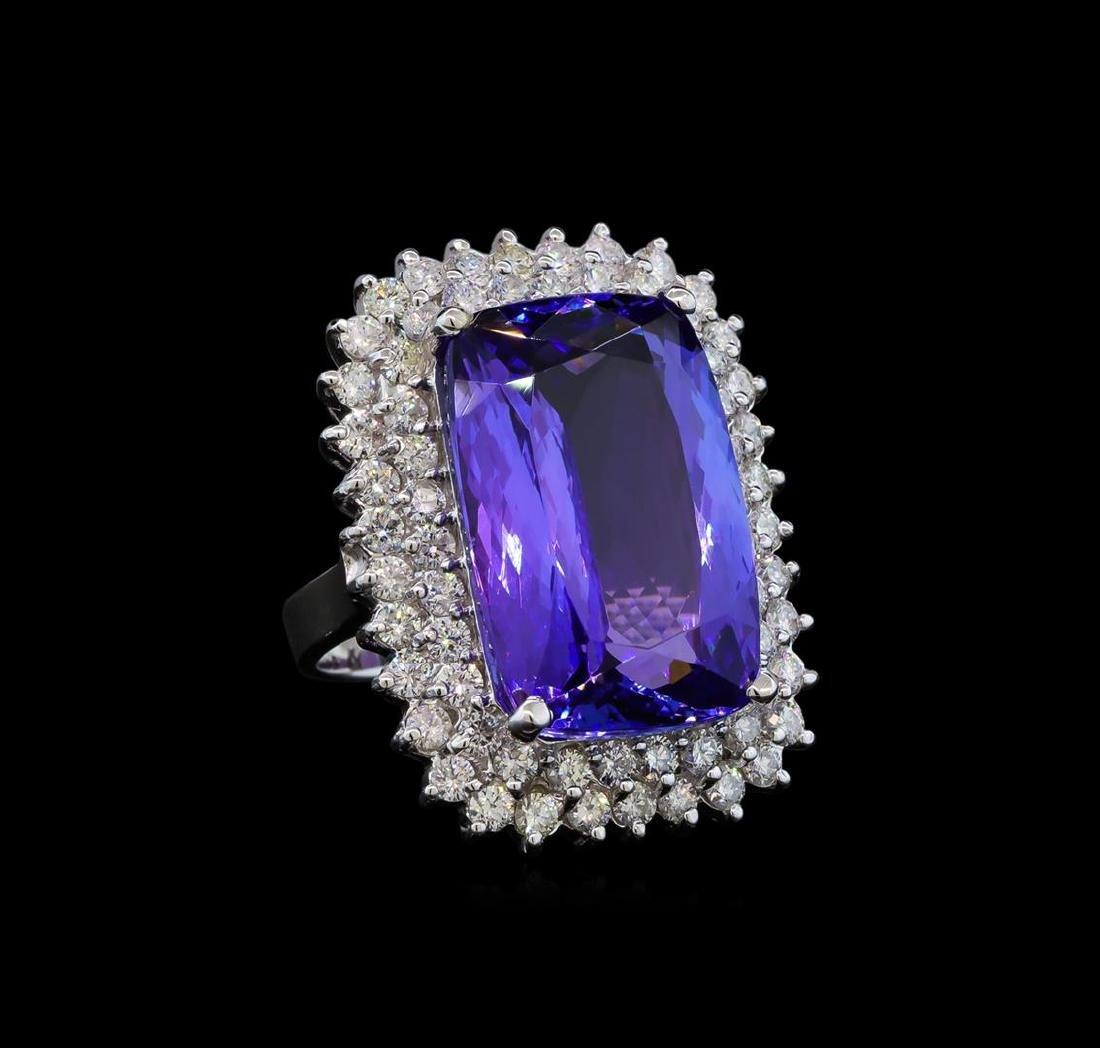 GIA Cert 26.67 ctw Tanzanite and Diamond Ring - 14KT