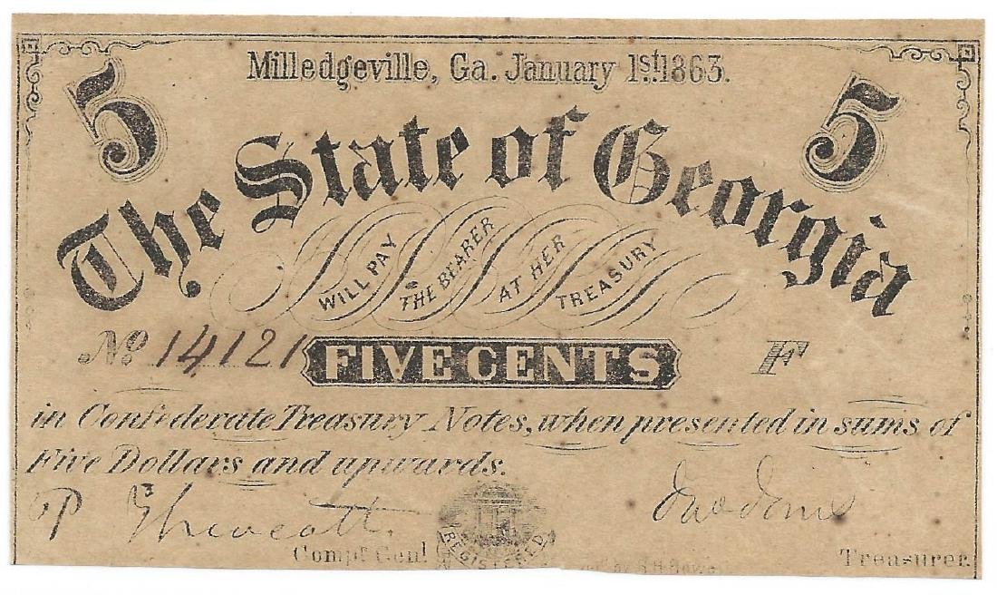 1863 5 Cent confederate fractional of Georgia
