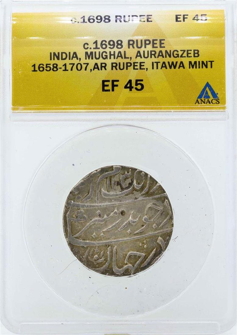 c.1698 India Rupee Mughal Coin ANACS EF45