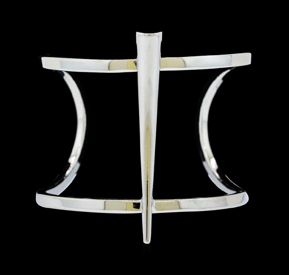 Long Spike Cuff Bracelet - Silver Plated