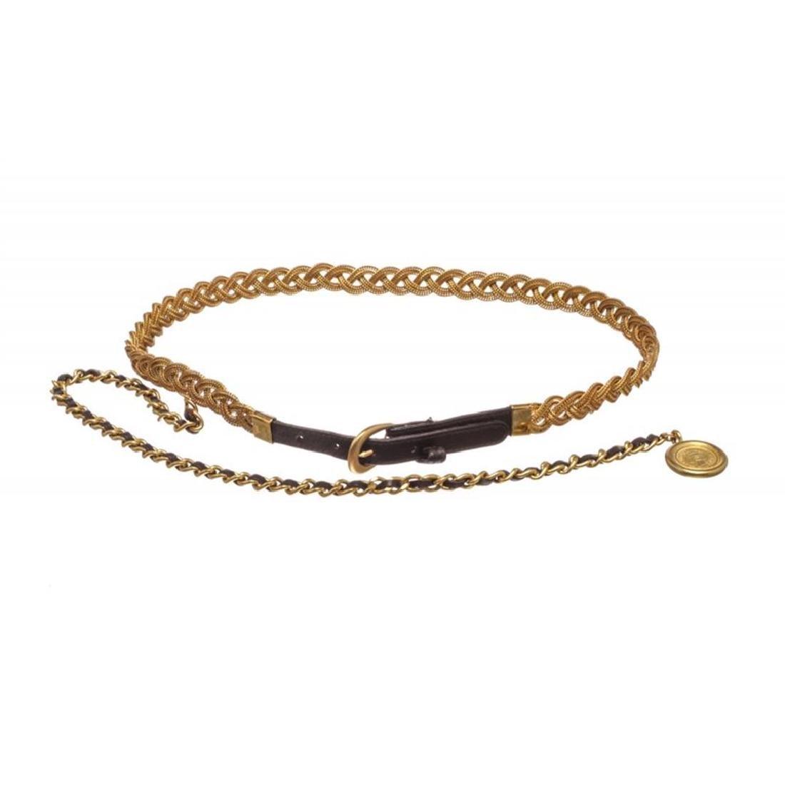 Chanel Gold Woven 31 Rue Cambon Medallion Drop Belt 94A