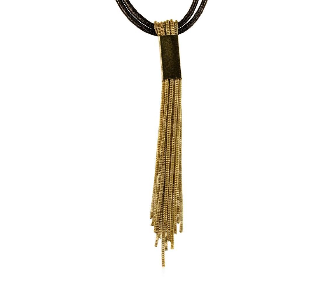 Leather/Mesh Tassel Necklace - Gold Plated
