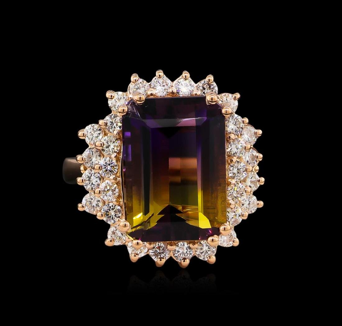 6.81 ctw Ametrine and Diamond Ring - 14KT Rose Gold - 2