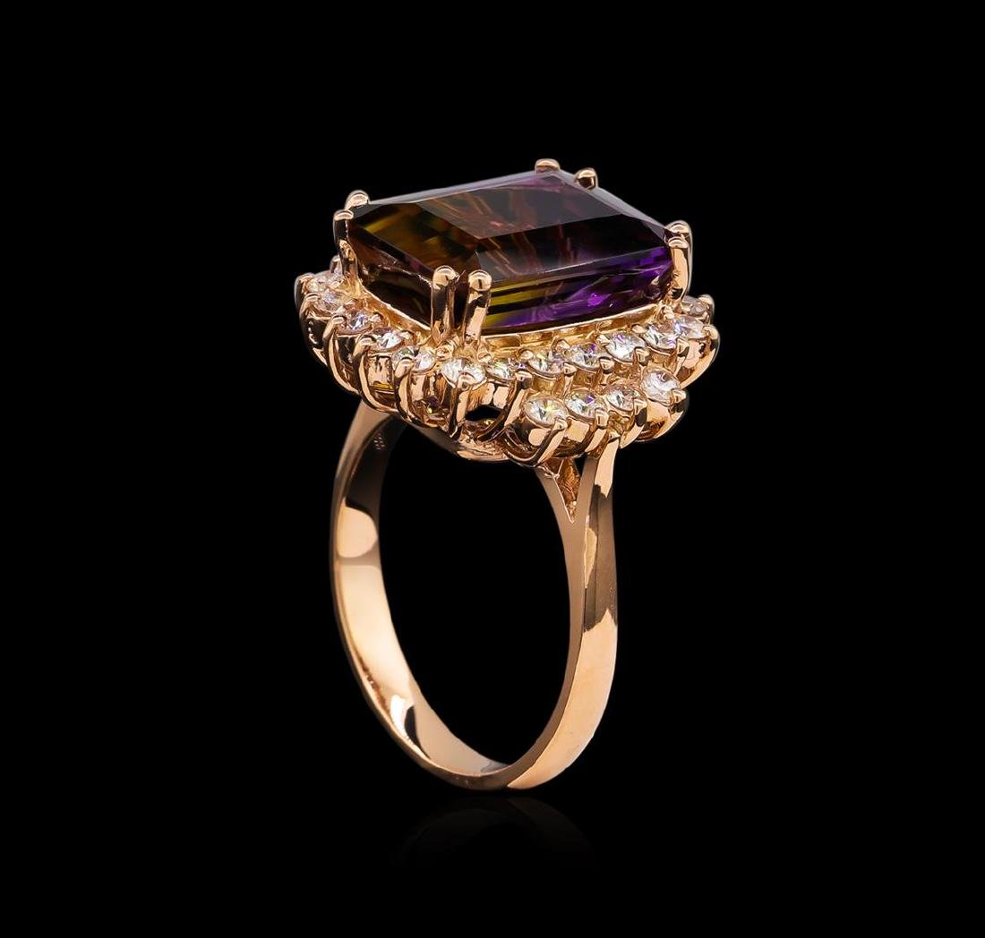 6.81 ctw Ametrine and Diamond Ring - 14KT Rose Gold - 4