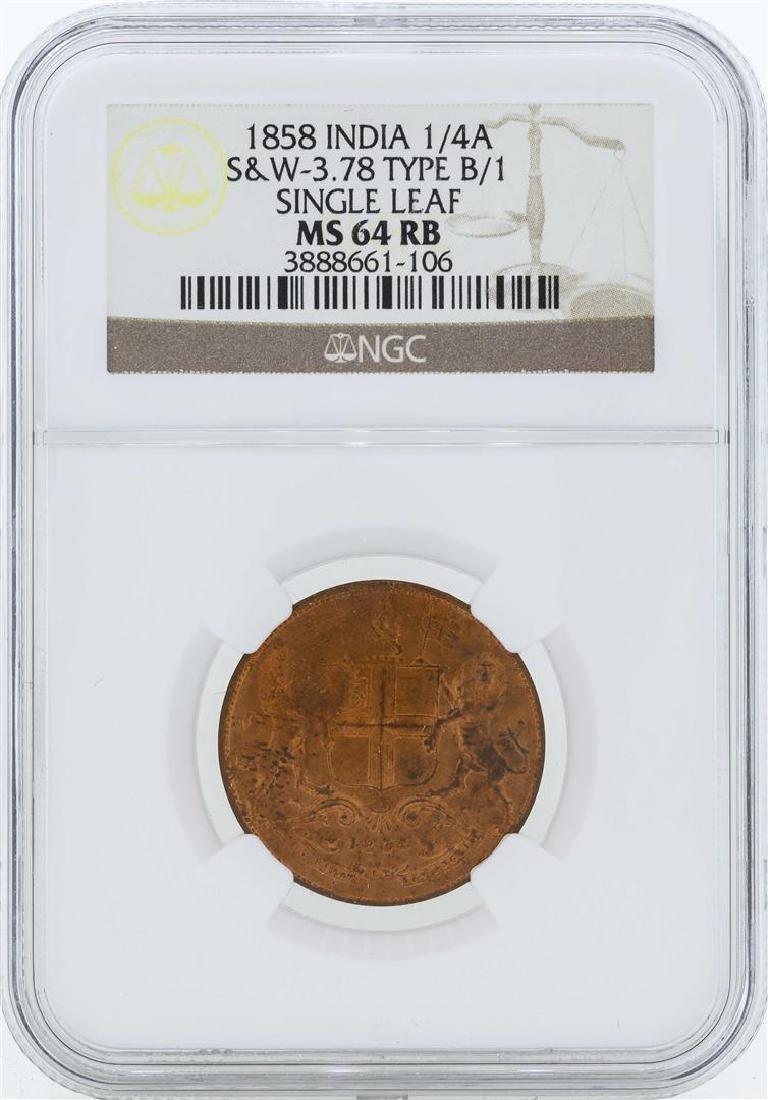 1858 India 1/4 Anna Coin Single Leaf NGC MS64RB