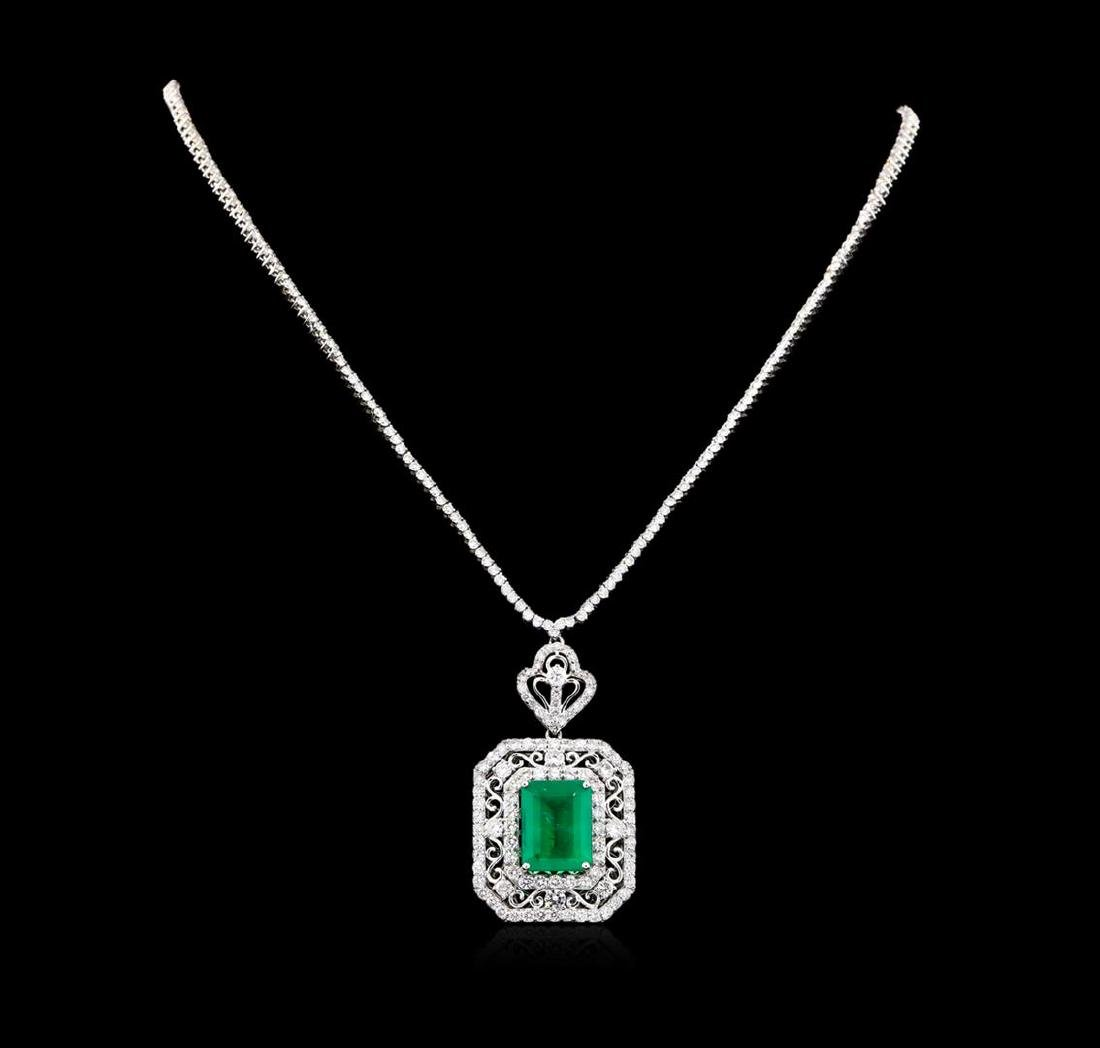 11.69 ctw Emerald and Diamond Necklace - 18KT White
