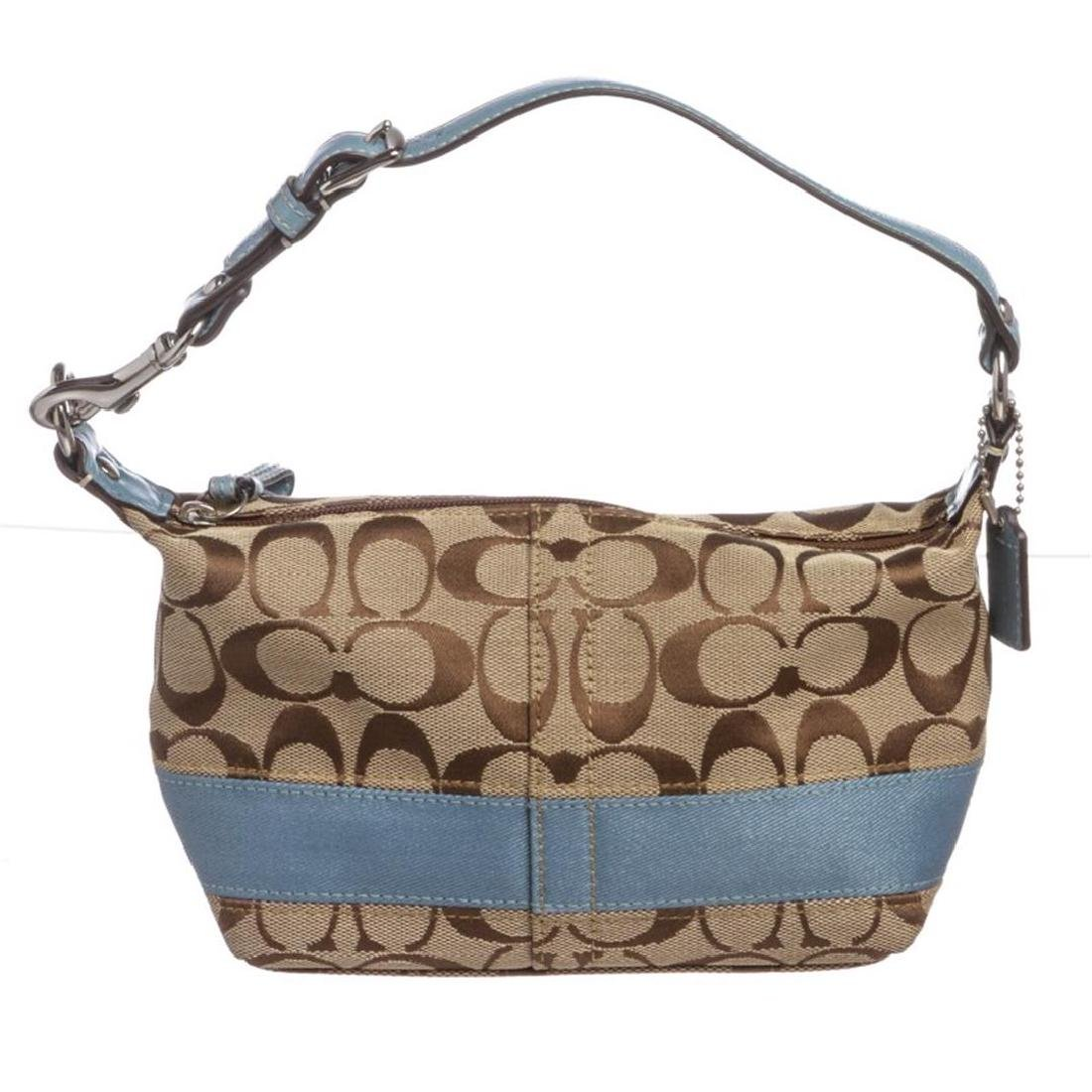 Coach Beige Canvas Monogram Blue Leather Trim Mini