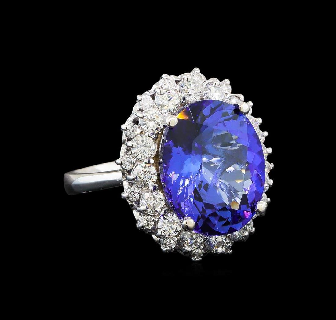 GIA Cert 10.03 ctw Tanzanite and Diamond Ring - 14KT
