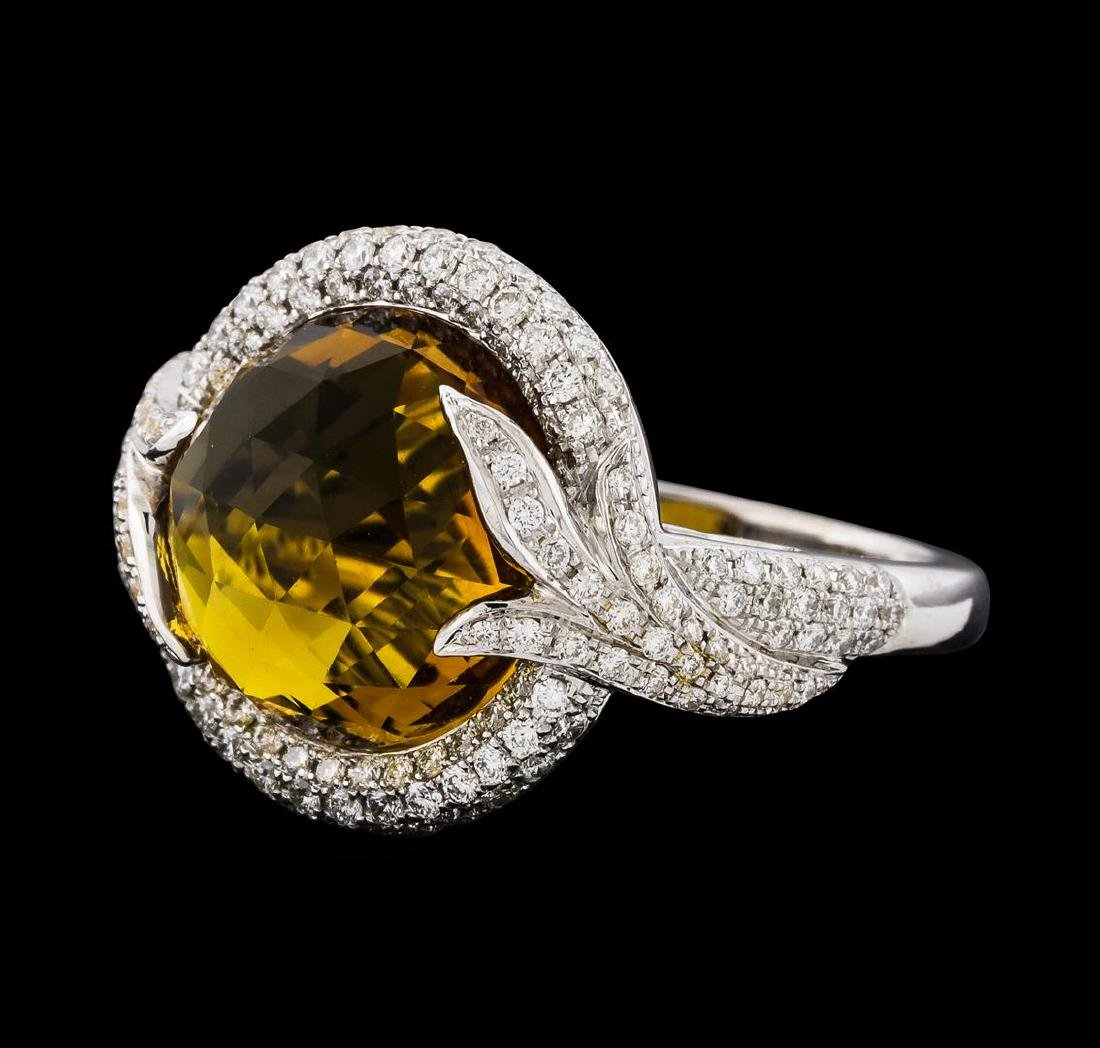 8.40 ctw Yellow Topaz and Diamond Ring - 14KT White