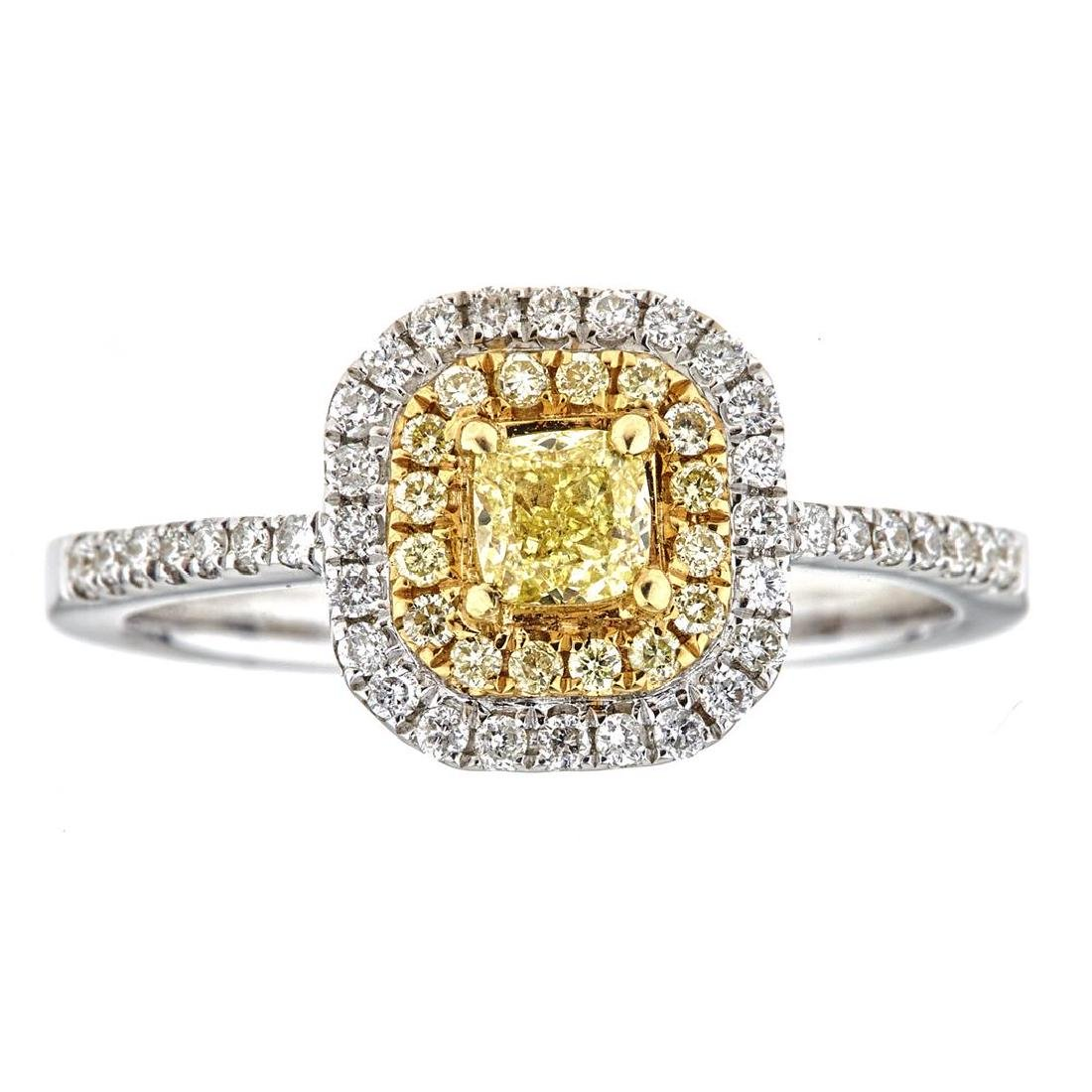 0.68 ctw Yellow and White Diamond Ring - 18KT White and