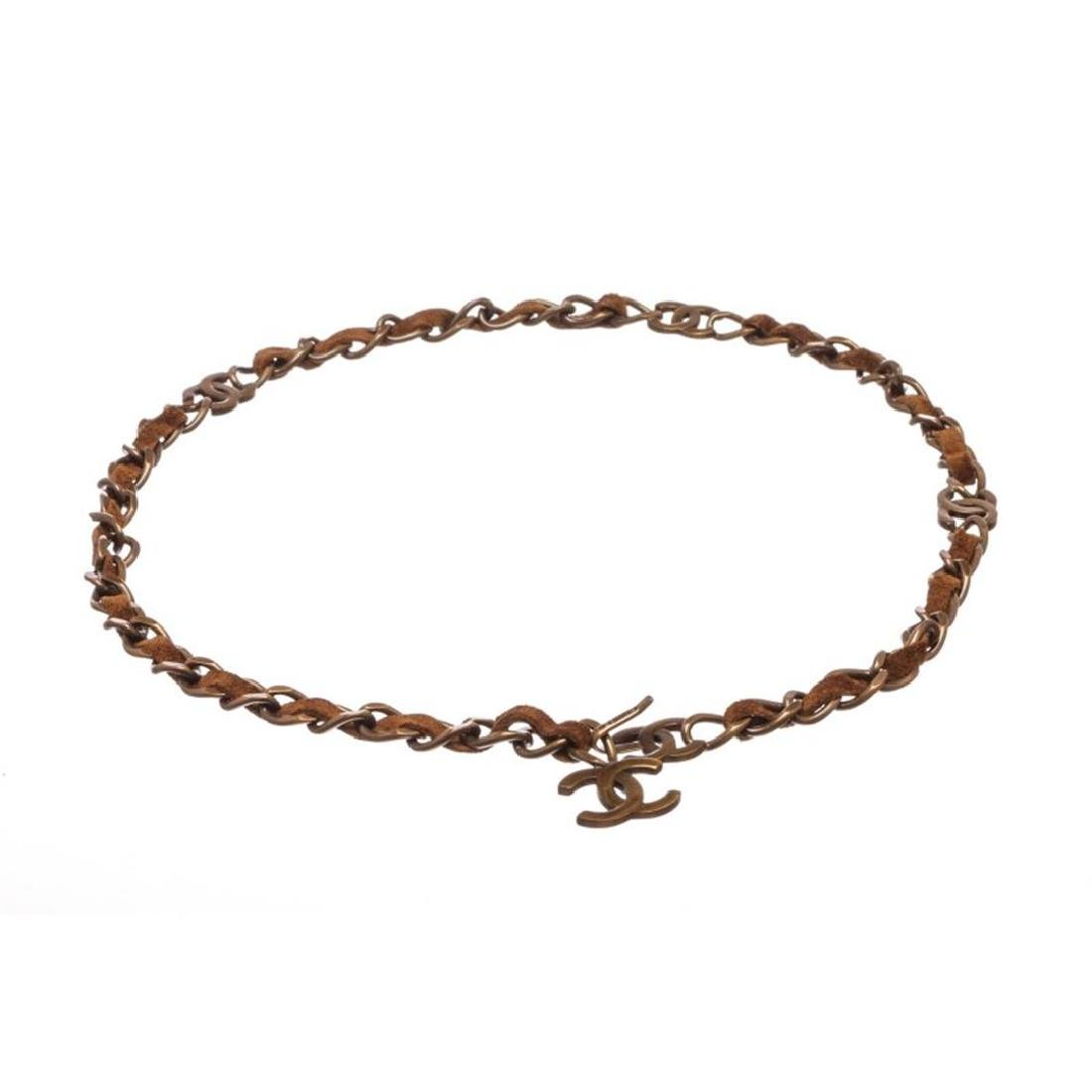 Chanel Antique Brass Chain Link and Brown Suede CC Logo