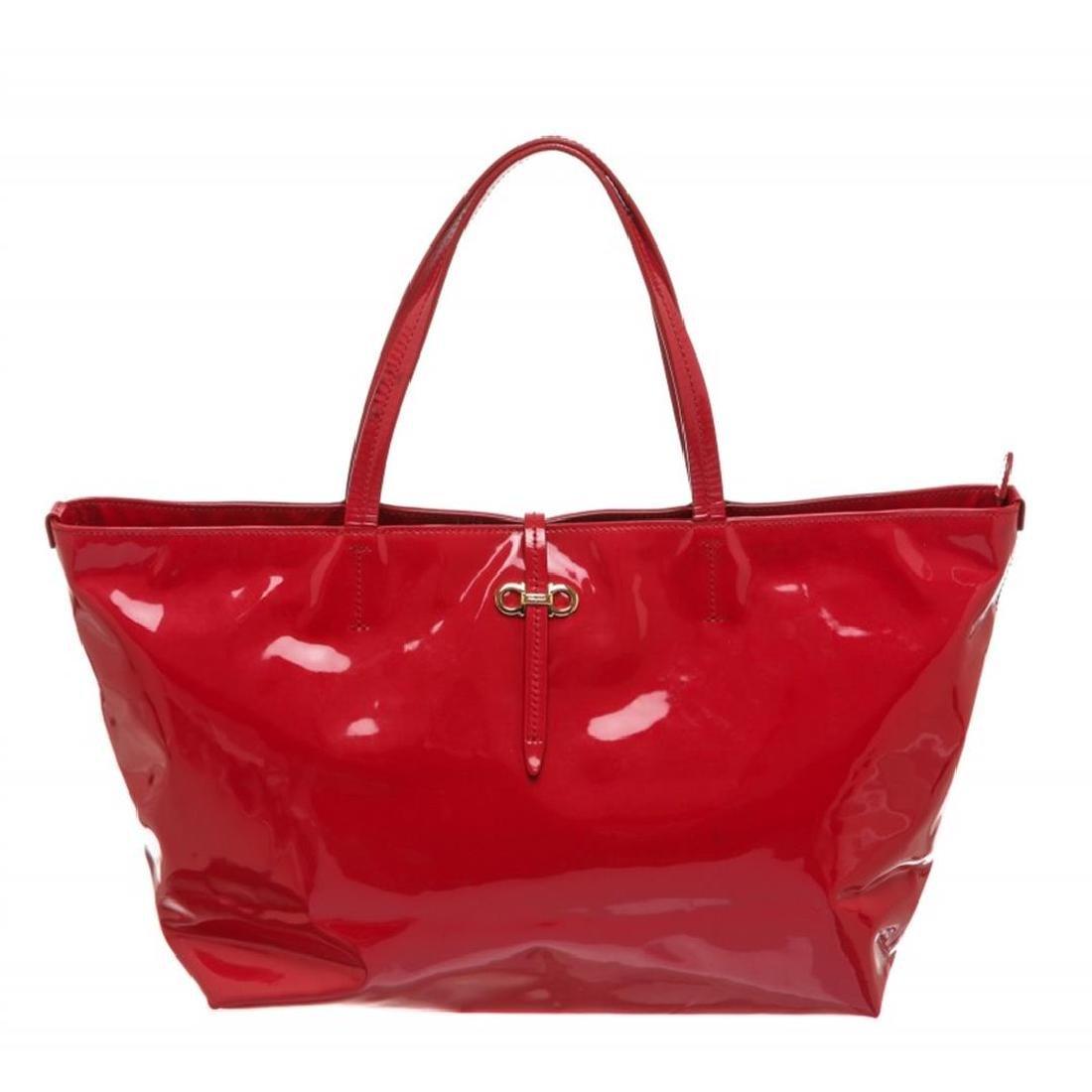 Salvatore Ferragamo Vinyl Red Tote Shoulder Bag