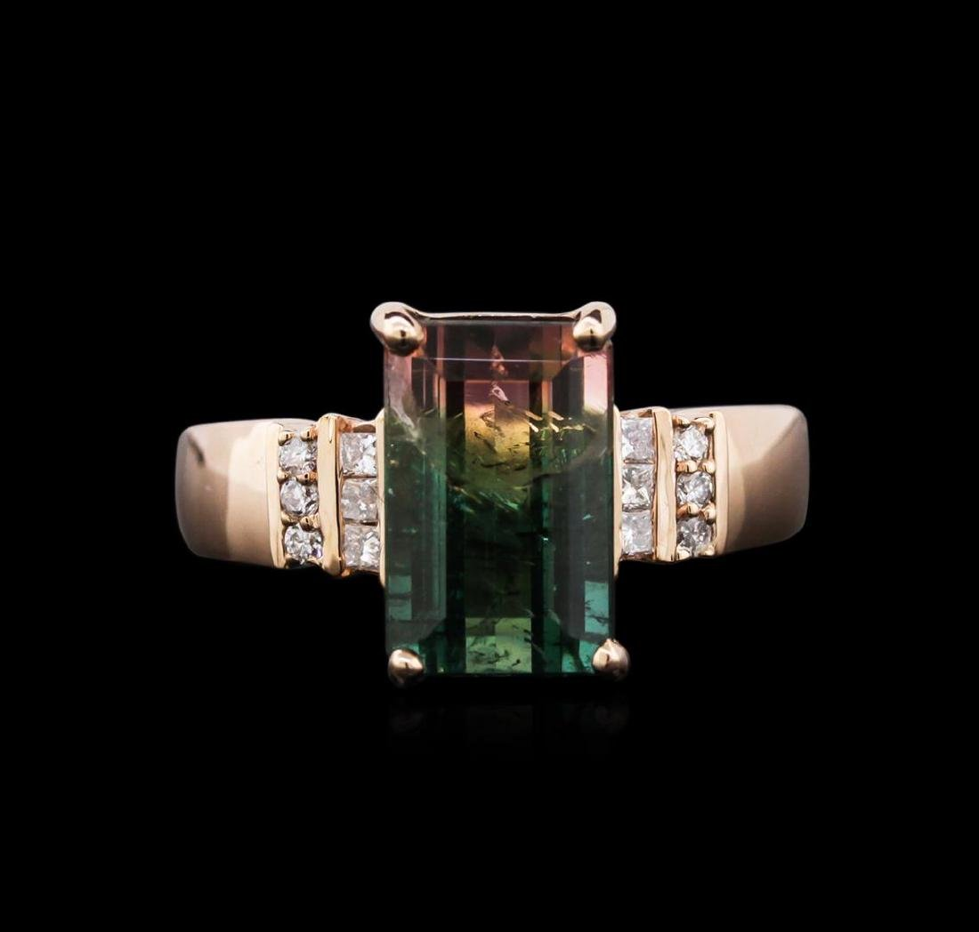 4.49 ctw Bi-Color Tourmaline and Diamond Ring - 14KT