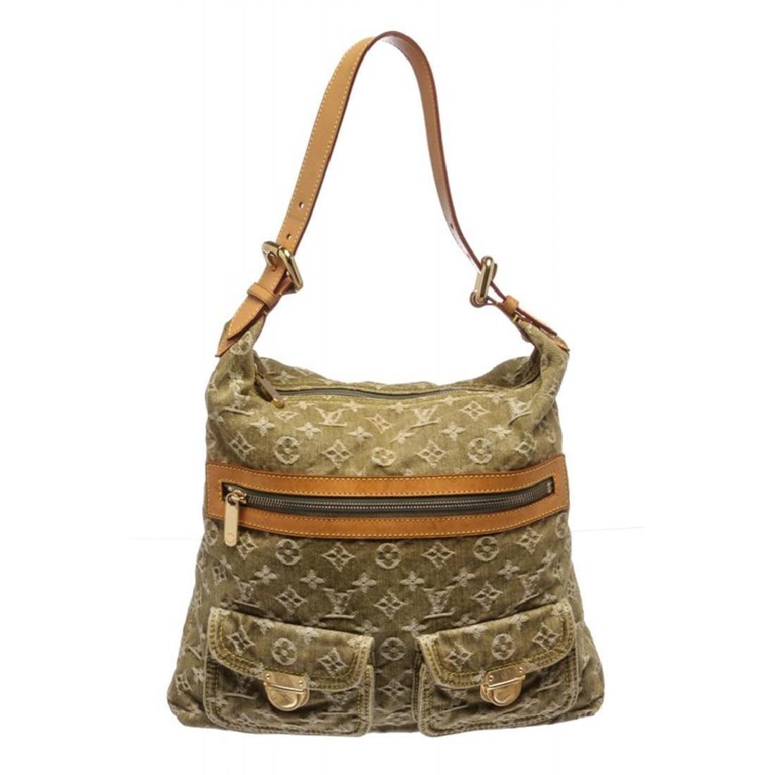 Louis Vuitton Green Monogram Denim Baggy GM Bag