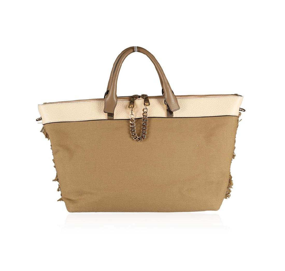 Chloe Baylee Khaki Canvas and Leather Crossbody Tote