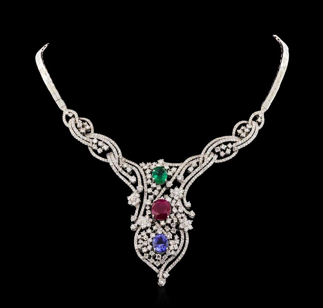 11.56 ctw Ruby, Sapphire, Emerald and Diamond Necklace
