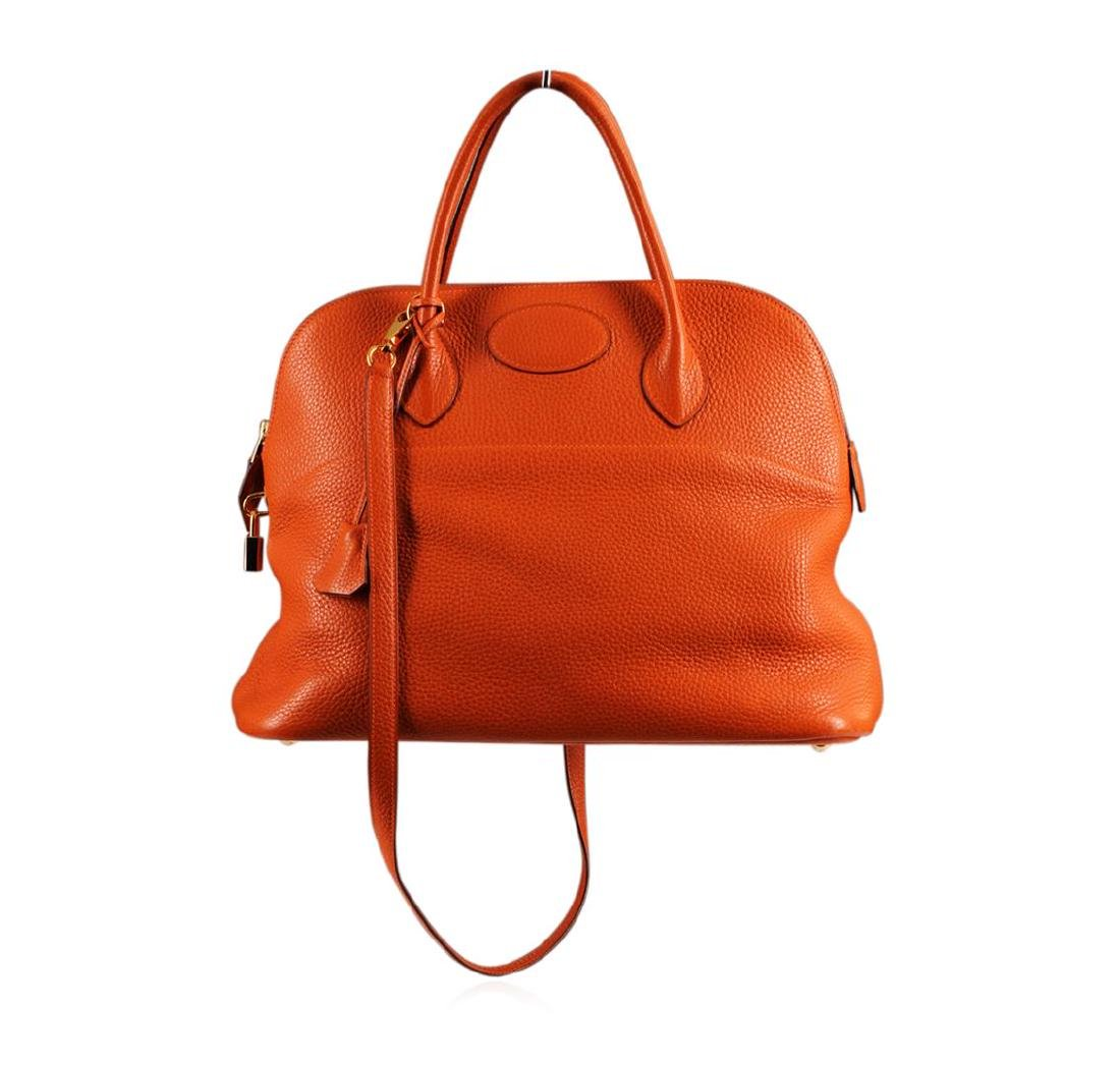 Authentic Hermes Orange Togo Leather Bolide Bag