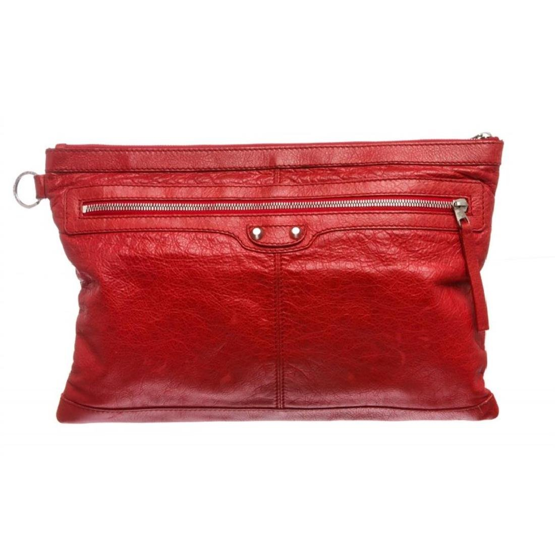 Balenciaga Red Arena Leather Classic Clip Large Clutch