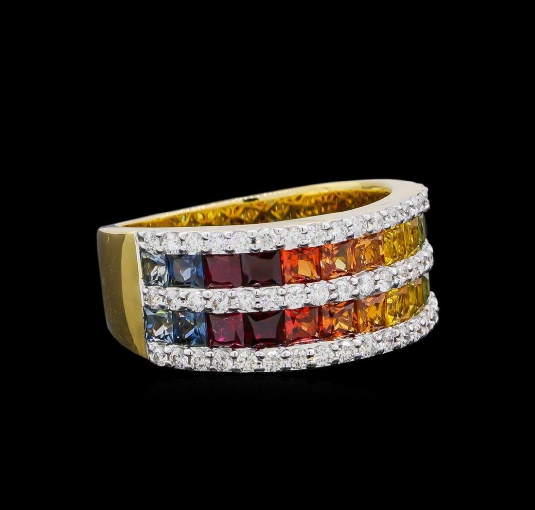 2.67 ctw Multi Color Sapphire and Diamond Ring - 14KT