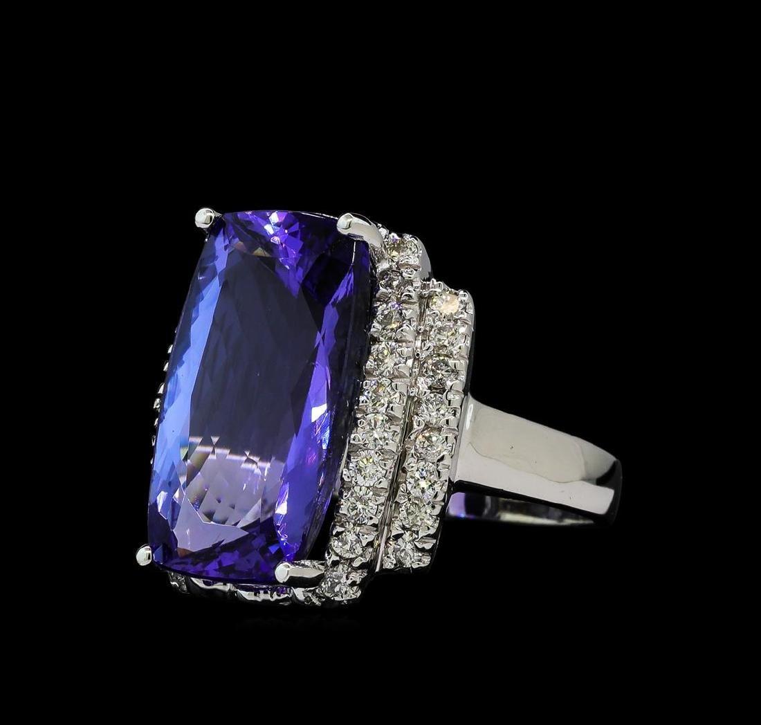 11.78 ctw Tanzanite and Diamond Ring - 14KT White Gold