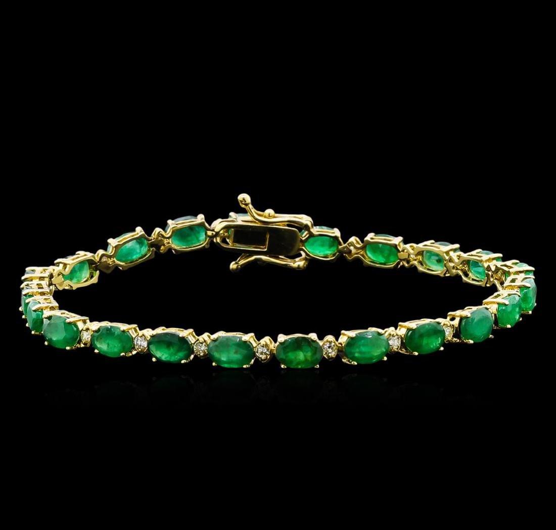10.00 ctw Emerald and Diamond Bracelet - 14KT Yellow