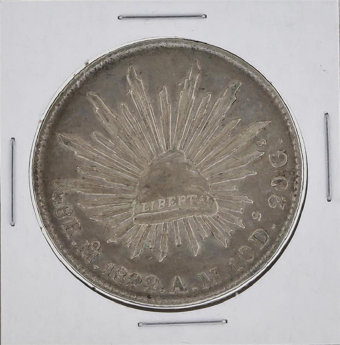 1892 MoAM Mexico 8 Reales Silver Coin KM 377.10