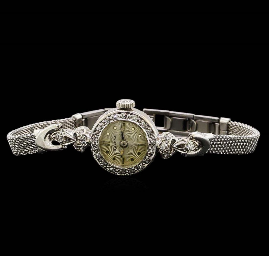 Bulova 14KT and 10KT White Gold 0.22 ctw Diamond Ladies