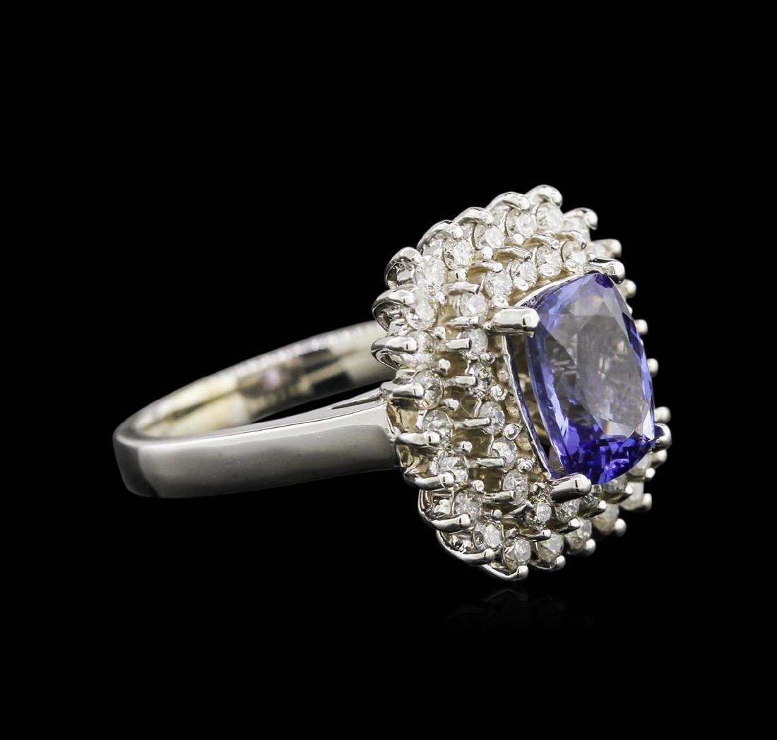 2.05 ctw Tanzanite and Diamond Ring - 14KT White Gold